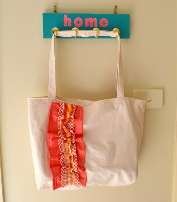Coral Combo Ruffled Love Tote Bag