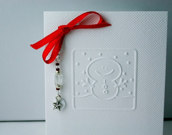Christmas Snowman Card Embossed with Star Charm