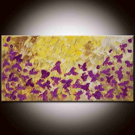 Free Shipping - Original Modern Abstract Flowers Large Painting 48x24 by Helen
