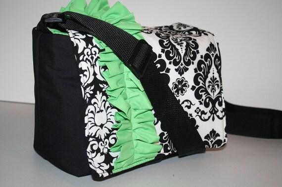 Digital Slr CAMERA Bag Dslr camera Bag Lens case Womens purse 2 black damask lime green ruffle Sm XcessRize Designs
