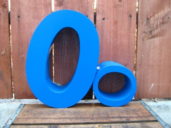 Upcycled Letter O Blue Industrial Aluminum Sign Channel Letter - Uppercase O