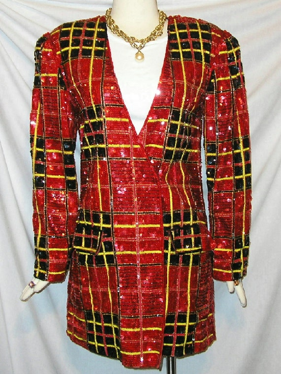 80s Amazing Red Tartan Plaid Sequin Jacket Mini Dress S-M