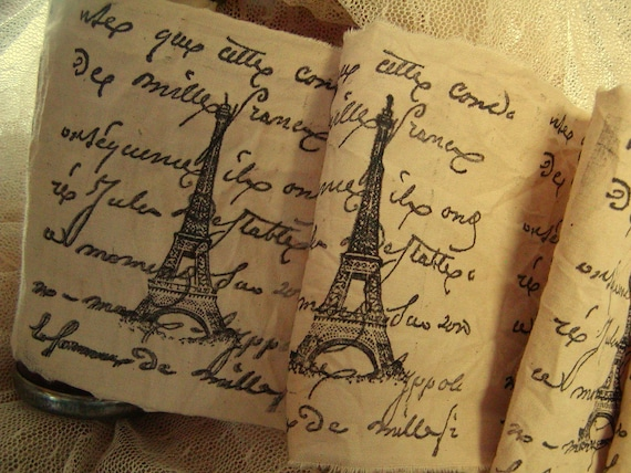 French Script and Eiffel Tower - Hand Stamped Trim - Hand Stamped Ribbon Extra Wide