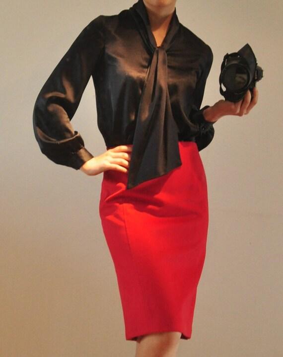 سیاه و سفید ساتن ابریشم خالص سنگین وزن بلند آستین گردن پیراهن بالون روبان