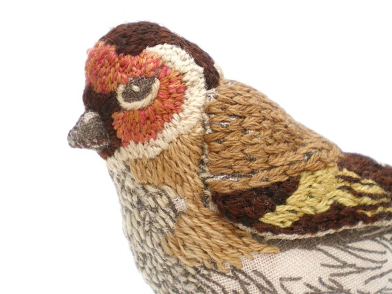 Goldfinch Embroidered Fabric Bird