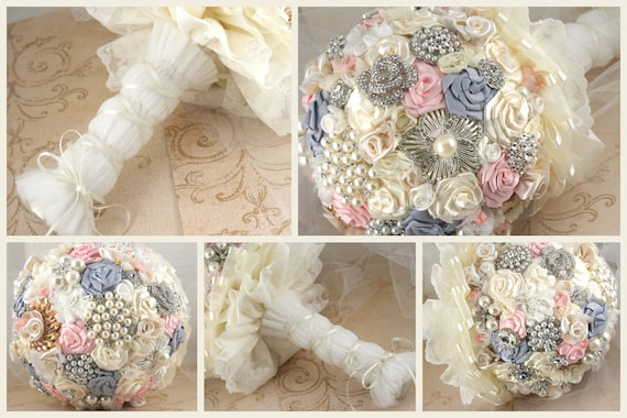 Brooch Bouquet -Large Bridal Bouquet in Blush, Cream, Dove Grey - with Brooches, Jewels and Handmade Flowers