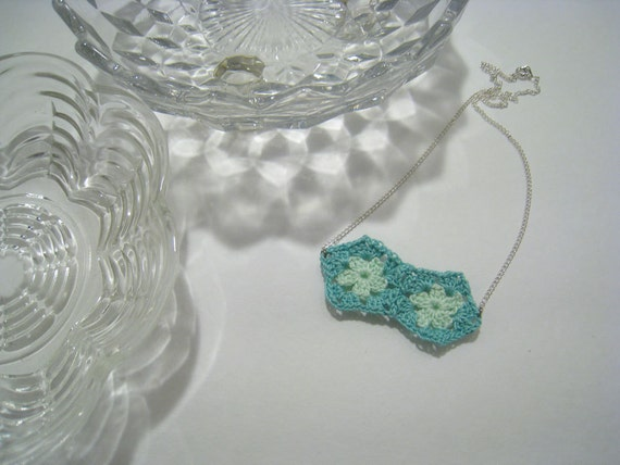 Hand Crocheted Necklace. Mini Granny Square Jewelry - Mint Green and Aqua Square. By Susannahbean on Etsy.