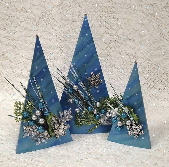 Blue Christmas Tree Decorations Winter Snow Teal Turquoise Trees Snowflakes Handmade