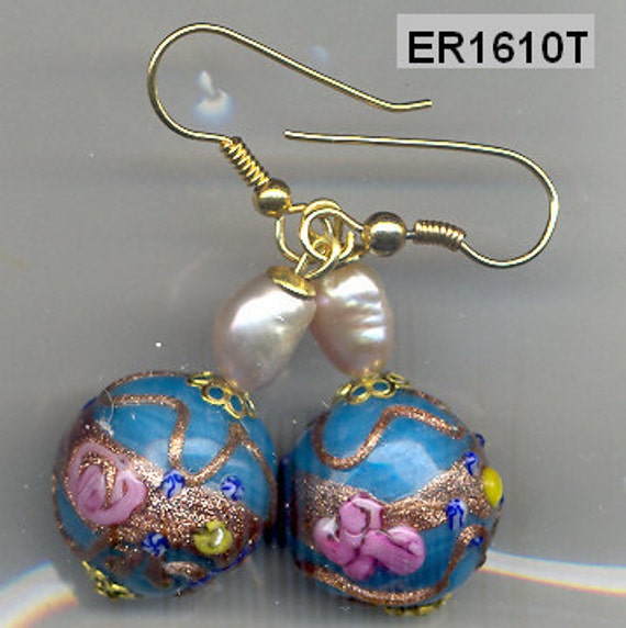ER1610T Venetian Wedding Cake Fiorato Turquoise Earrings