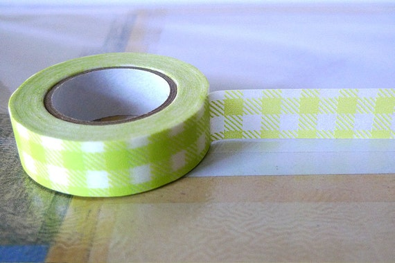 School Yellow GREEN Gingham Grid Japanese Washi Tape 15mm