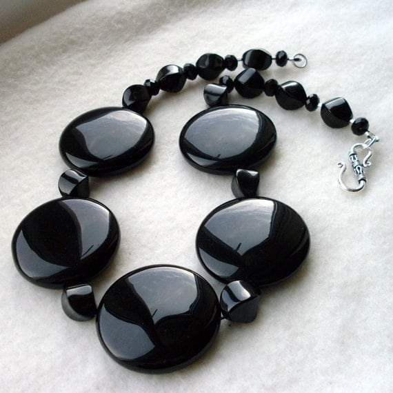Chunky Black Onyx Gemstone Statement Necklace