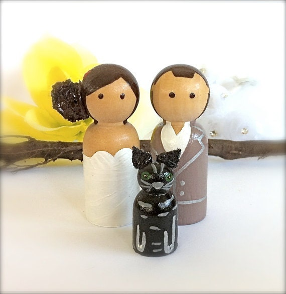 Wedding Cake Topper with 1 Pet Cat Dog Bride Groom Wood Peg Dolls Wooden