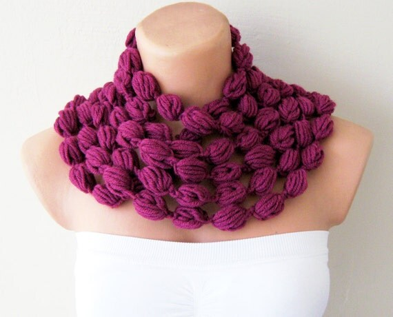 ON SALE Plum Infinity Chunky Scarf Apple Candy Grape Plum Lavender Chunky Neckwarmer