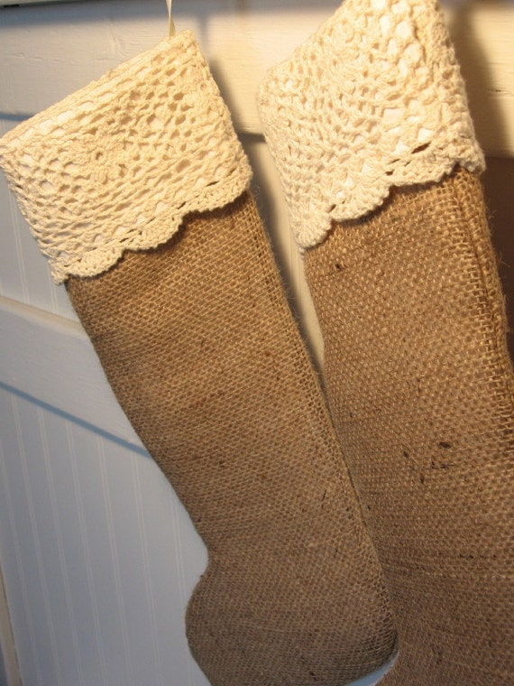 RESERVED for Slavia: VANILLA ICING - Two Burlap Christmas Stockings with Creamy Colored Lace