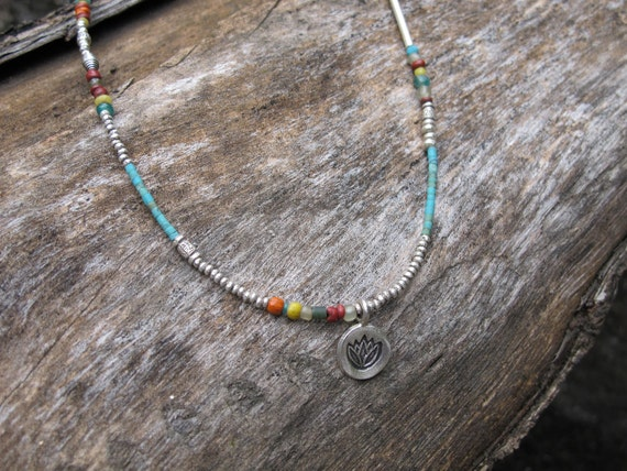 Fine Silver and Natural Stone Bead Lotus Symbol Necklace