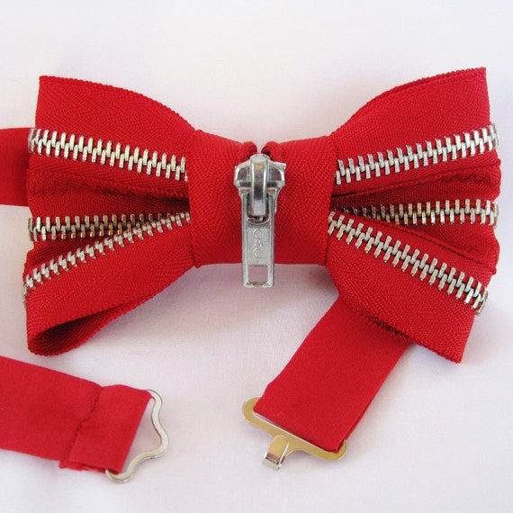 Red and Silver Zipper Mens Bow Tie