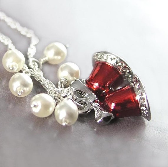 Red Bells Necklace Sterling Silver Snow White Pearls Red Christmas Gift Idea Winter Holiday Jewelry