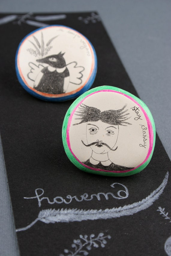 Set Of Two Brooches - Moustache Woman And Vegan Wolf