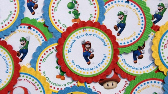 Super Mario Thank You Gift Tags - Set of 24 Personalized Birthday Party Decorations