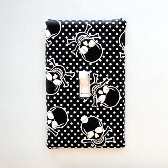 Light Switch Plate Cover, wall decor - black and white skull and cross bone with polkadots, punk rock, hardcore