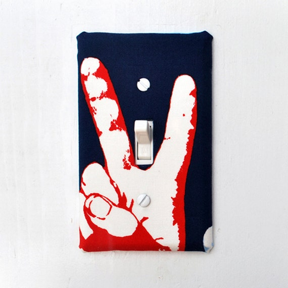 Light Switch Plate Cover - navy blue with red hand making peace sign, world peace, USA, America
