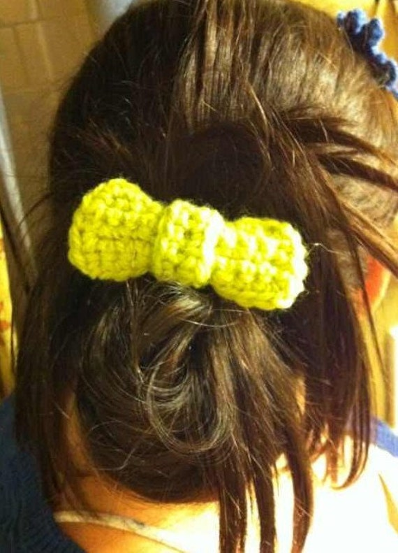 Lime Green Crochet Bow Tie on Matching Clip- Set of 2
