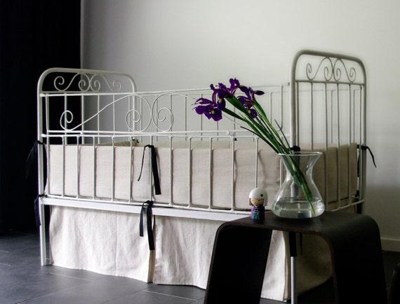 Custom linen Baby bedding Crib 8 pc Full Set  (bumper, skirt, sheet, quilt, duvet cover, pillowcase, pillow, bib gift)