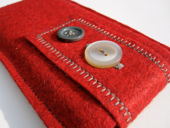 Bold & Modern Red Wool Felt iPhone / iPod Touch Cozy with Earphone or USB Cable Back Pocket - Double Buttoned