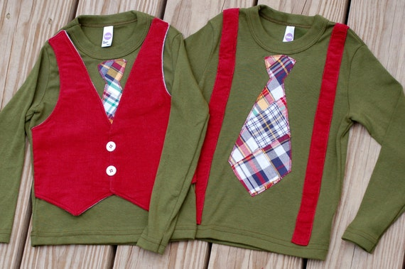 Brothers matching Christmas Holiday shirts or onesies - vest, suspenders and tie for babies and toddlers - boy twin set