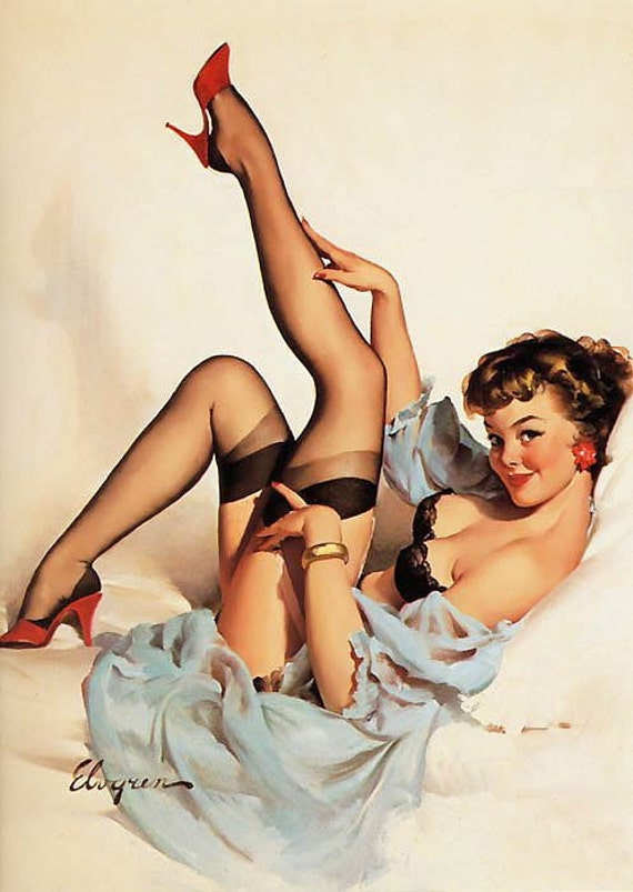 """Free US shipping Stylish Handprinted Cotton Art Reproduction Applique Vintage Sexy Pin-up Girl Gil Elvgren, """"Sheer comfort"""", 1959"""