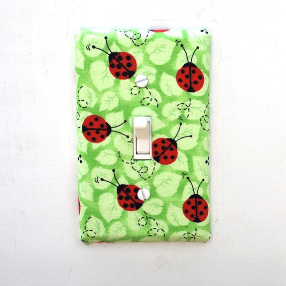 Light Switch Plate Cover - green leaves with red and black ladybugs, natural, nature, outdoors, creatures