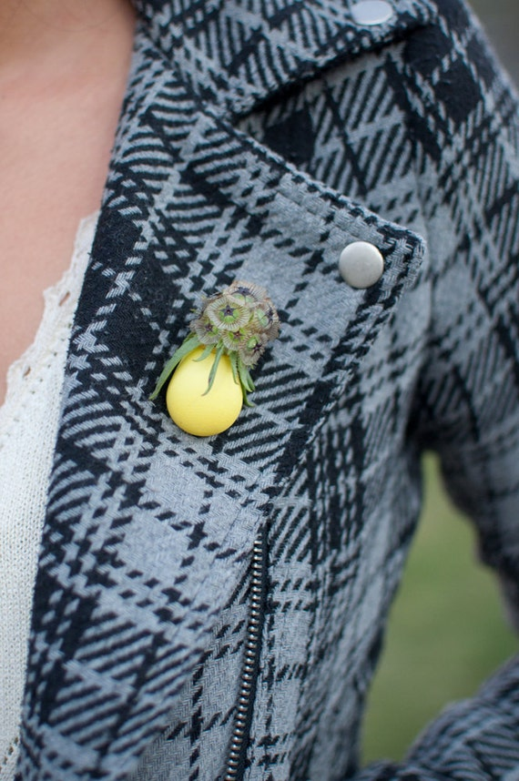 Wearable Planter Lapel Pin, Lemon Yellow