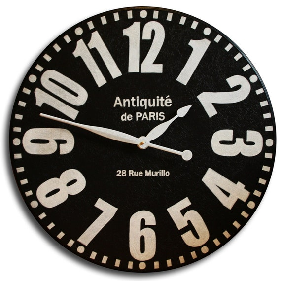 Large Wall Clock 36in Antique Style BOLD PARIS Big Round Clocks Arabic Regular Numerals