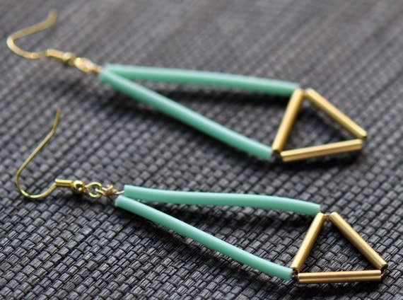 Neon Geometric Earrings - Mint and Gold Tube