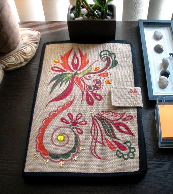 Jute File Folder, Hand Painted, Eco Friendly Stationery, Office for Her, Red, Orange, Green, Boho Chic, OOAK