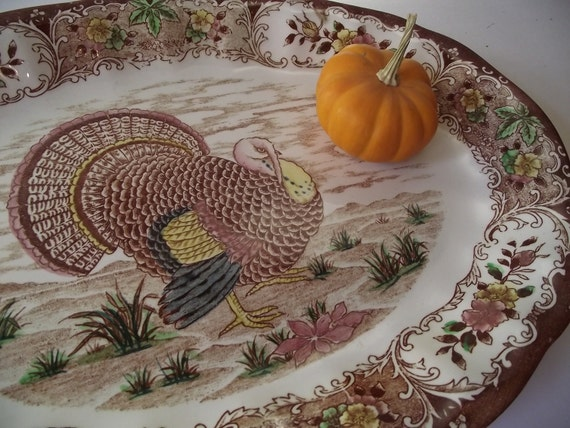 Huge Transferware Turkey Platter - Made in Japan