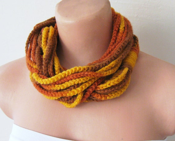Infinity Scarf, Circular Crocheted Chunky Cowl with Fall Autumn Colors