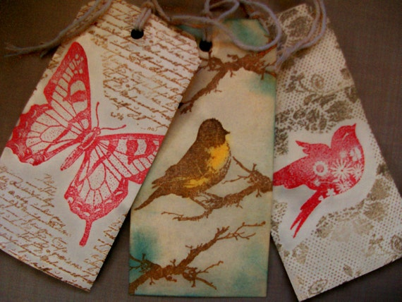 "Bird & Butterfly Tags Set of 3 Handstamped Tea-dyed Vintage Shabby 5 1/4 x 2 5/8""  Series 1"