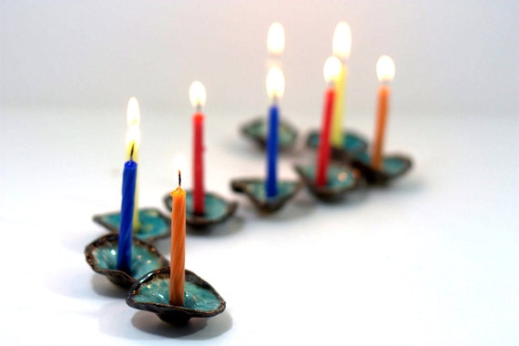 OOAK Hanukkah Menorah Ceramic flowers in brown and turquoise - elitett tbteam