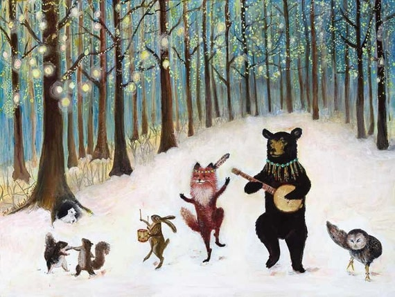 Use 20% OFF coupon code- Forest Festivities- 17.5 x 23 giclee print, forest animals, woodland art, dancing animals, forest, snow