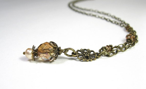 Vintage Style Jewelry, Necklace, Latte, Amber, Czech Glass, Swarovksi, Antiqued Brass
