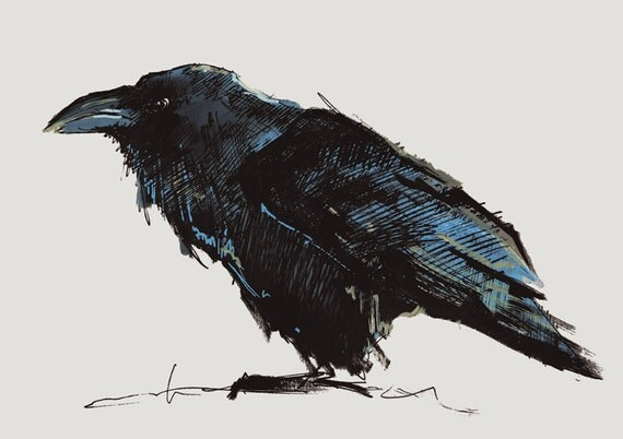 CROW NO 14, Limited Edition A5 Fine Art Glicee Print of my original illustration