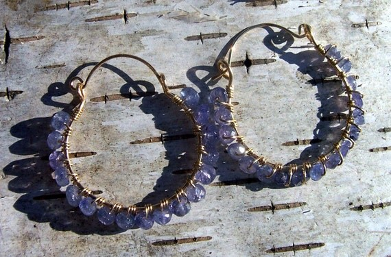 Tanzanite and gold wire wrapped hoop earrings