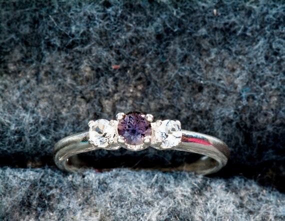 Purple Sapphire & White Topaz 3 Stone Ring..Past, Present, Future