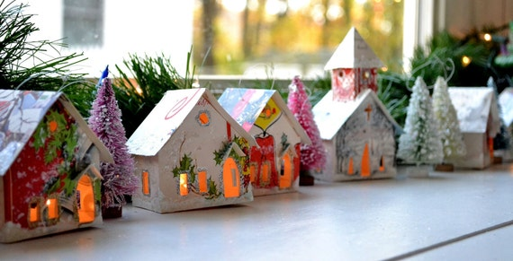 Create Your Own Putz Glitter House Village / Onaments that Light Up / Handmade from Vintage Christmas Cards