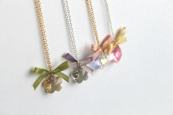 Crystal flower ribbon necklace - Black Friday Etsy Cyber Monday Etsy