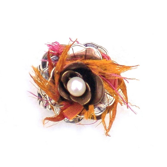 Boho Cocktail Ring Pink Orange Sari Silver by Catherine Jeltes from etsy.com