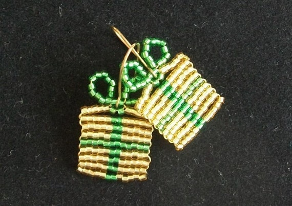 Beaded Gold and Green Christmas Gift Package Earrings