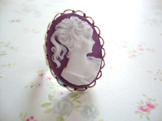 Royal Plum Cameo ring