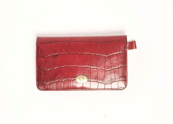 Etienne Aigner Red Reptile-Textured  Leather Wallet